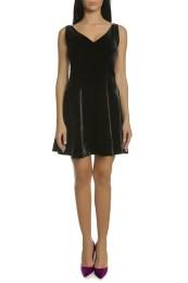 CALVIN KLEIN JEANS - Γυναικείο μίνι φόρεμα FLARED VELVET μαύρο