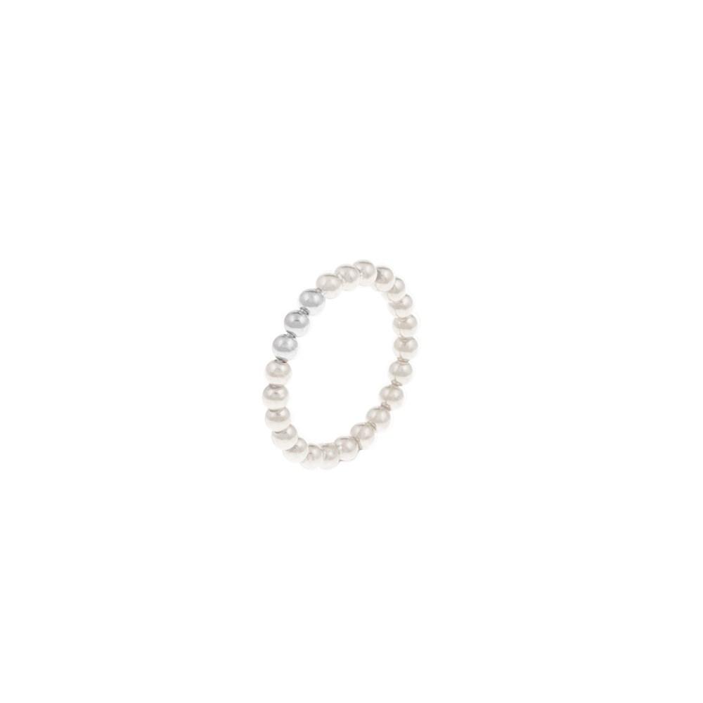FOLLI FOLLIE - Δαχτυλίδι έπαργυρο Folli Follie από λευκές πέρλες