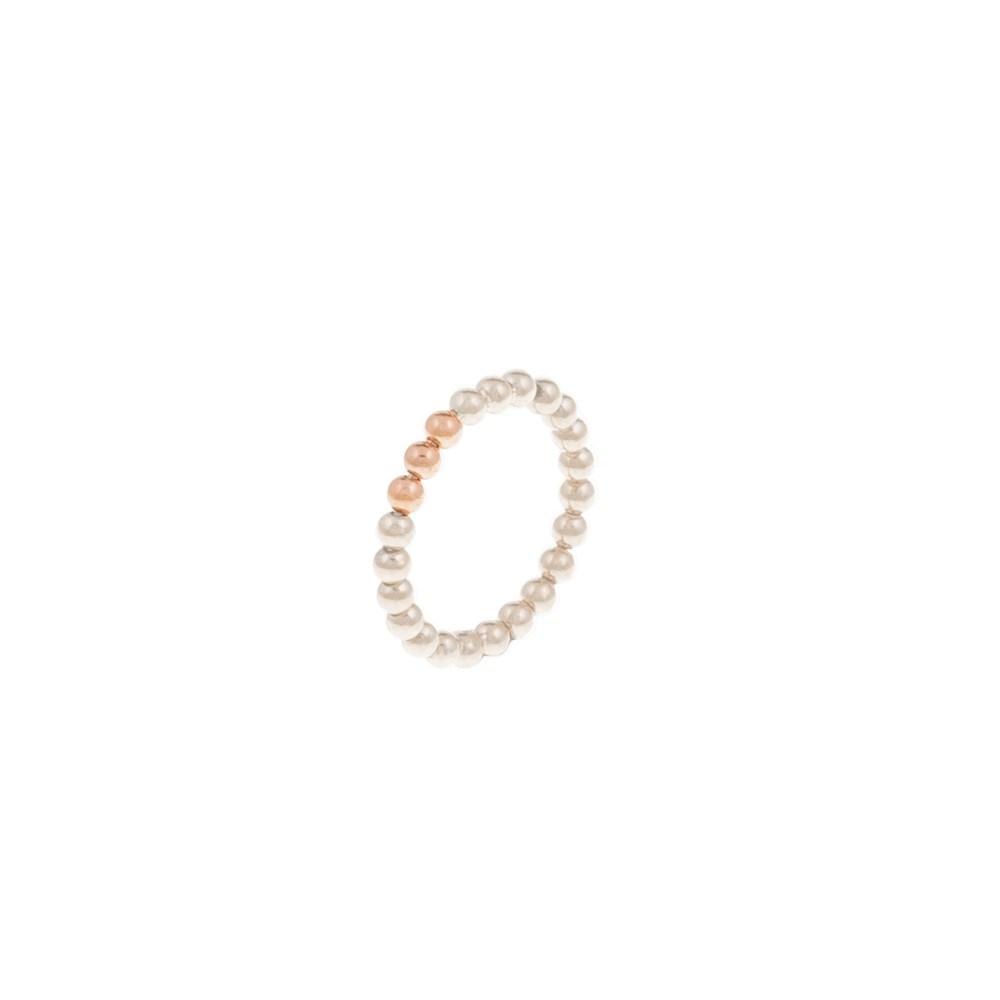 FOLLI FOLLIE - Δαχτυλίδι έπαργυρο Folli Follie από ροζ πέρλες