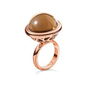 FOLLI FOLLIE - Γυναικείο επιχρυσωμένο ροζ δαχτυλίδι ORBIT με κρυστάλλινη καφέ πέτρα