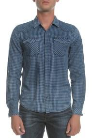 GARCIA JEANS - Ανδρικό μακρυμάνικο πουκάμισο GARCIA JEANS μπλε με καρό μοτίβο