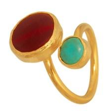 JEWELTUDE - Επίχρυσο δαχτυλίδι Ορυκτή Πέτρα Τιρκουάζ