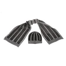 SSEINSE - Ανδρικό σετ σκούφος-κασκόλ SSEINSE μαύρο-γκρι