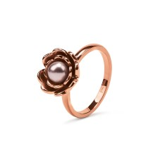 FOLLI FOLLIE - Γυναικείο επίχρυσο δαχτυλίδι FLEUR MUSE με ροζ πέρλα & διπλό λουλούδι