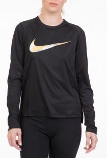 NIKE - Γυναικεία μακρυμάνικη μπλούζα NIKE MILER TOP LS METALLIC μαύρη