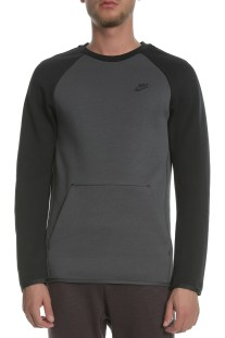 NIKE - Ανδρική φούτερ μπλούζα NSW TCH FLC CRW LS ανθρακί-μαύρη