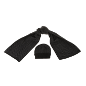 SORBINO - Ανδρικό σετ σκούφος-κασκόλ SORBINO μαύρο ανθρακί image