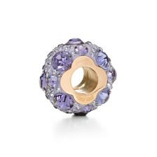 FOLLI FOLLIE - Επιχρυσωμένο ροζ μικρό παντατίφ Folli Follie MATCH & DAZZLE με μοβ κρυστάλλινες πέτρες