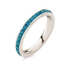 FOLLI FOLLIE - Επάργυρο στενό δαχτυλίδι Folli Follie MATCH & DAZZLE με μπλε κρυστάλλινες πέτρες