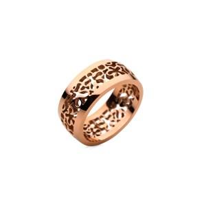 FOLLI FOLLIE - Γυναικείο δαχτυλίδι FOLLI FOLLIE από επιμεταλλωμένο ατσάλι ροζ χρυσό