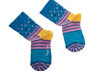 HAPPY SOCKS - Παιδικές κάλτσες KIDS STRIPE AND DOTS SOCK μπλε-ροζ με σχέδιο