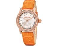 FOLLI FOLLIE - Γυναικείο ρολόι Folli Follie με δερμάτινο λουράκι πορτοκαλί