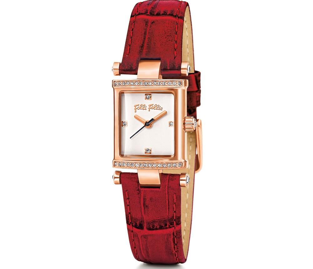 FOLLI FOLLIE - Γυναικείο ρολόι Folli Follie με δερμάτινο λουράκι κόκκινο