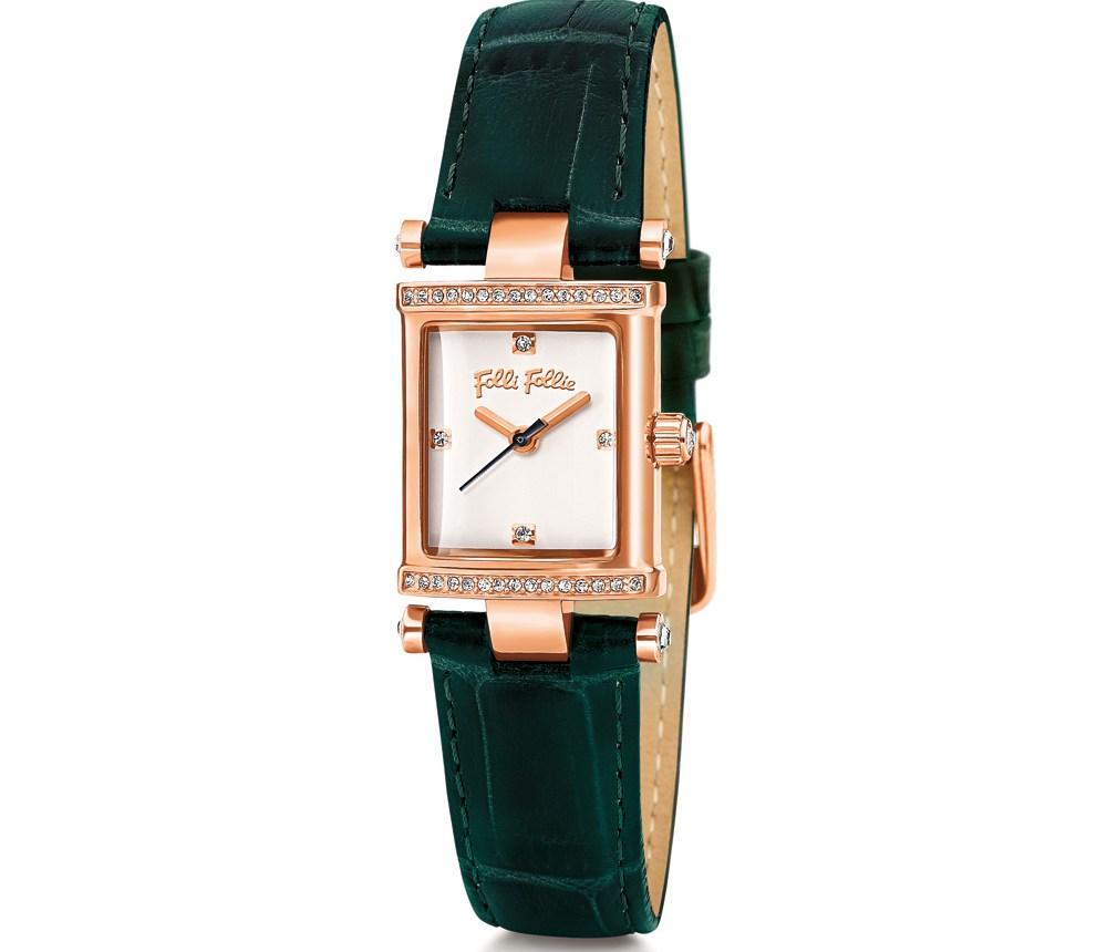 FOLLI FOLLIE - Γυναικείο ρολόι Folli Follie με δερμάτινο λουράκι πράσινο