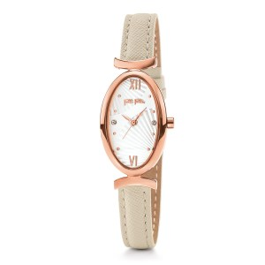 FOLLI FOLLIE - Γυναικείο ρολόι με δερμάτινο λουράκι FOLLI FOLLIE LADY BLOOM λευκό