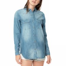FUNKY BUDDHA - Γυναικείο τζιν πουκάμισο FUNKY BUDDHA μπλε