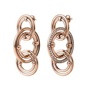 FOLLI FOLLIE - Γυναικεία μακριά σκουλαρίκια με κρίκους   κρυστάλλινες  πέτρες BONDS ροζ-χρυσά b721498f74e