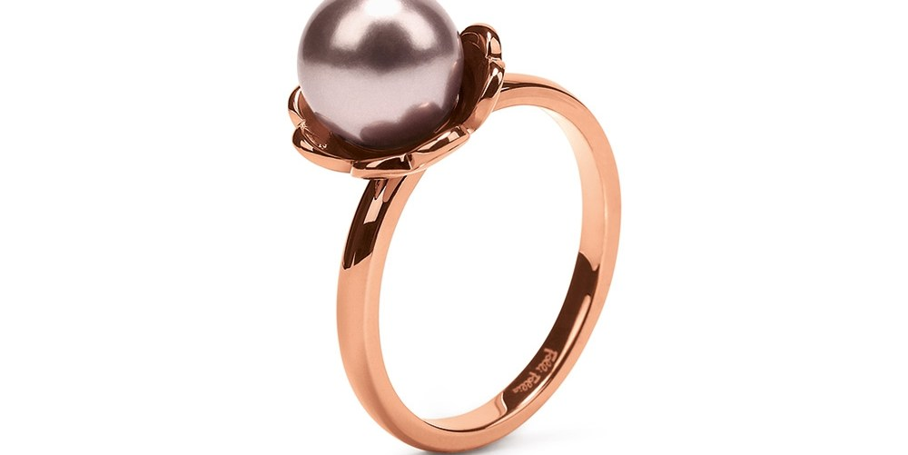 FOLLI FOLLIE - Γυναικείο επίχρυσο δαχτυλίδι FLEUR MUSE με ροζ πέρλα