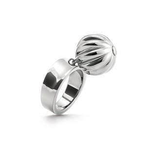 FOLLI FOLLIE - Γυναικείο δαχτυλίδι με κρεμαστό μοτίφ FOLLI FOLLIE επάργυρο