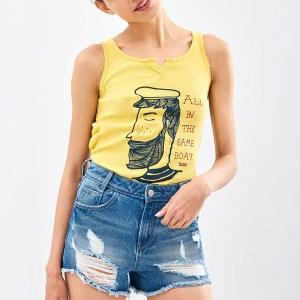FUNKY BUDDHA - Γυναικεία αμάνικη μπλούζα Funky Buddha κίτρινη