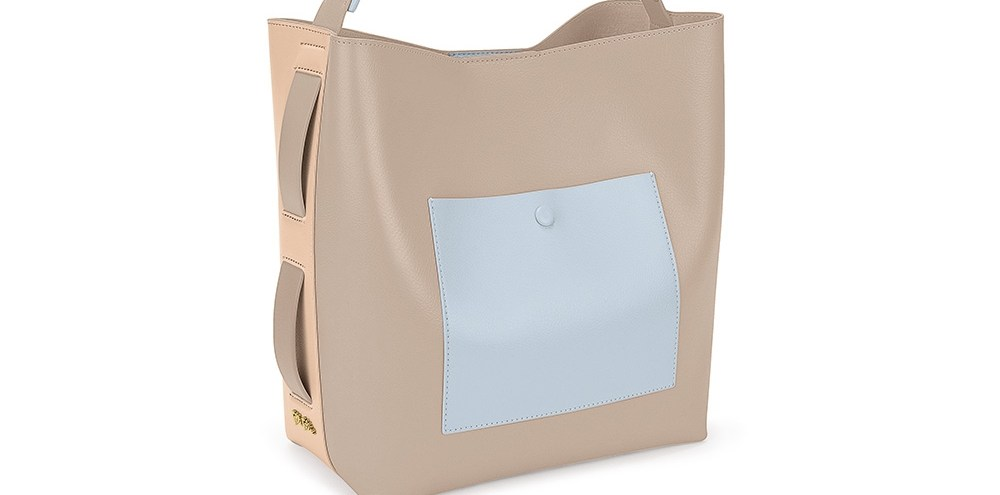 FOLLI FOLLIE - Γυναικεία μεσαία τσάντα ώμου hobo FOLLI FOLLIE μπεζ