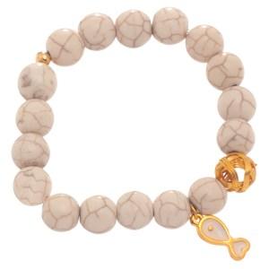 JEWELTUDE - Γυναικείο βραχιόλι πέτρες Χαολίτη επίχρυσο Ψάρι