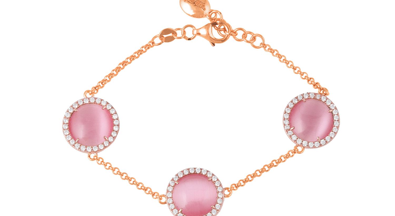 FOLLI FOLLIE - Γυναικείο επιχρυσωμένο βραχιόλι FOLLI FOLLIE με ροζ πέτρες και ζιργκόν