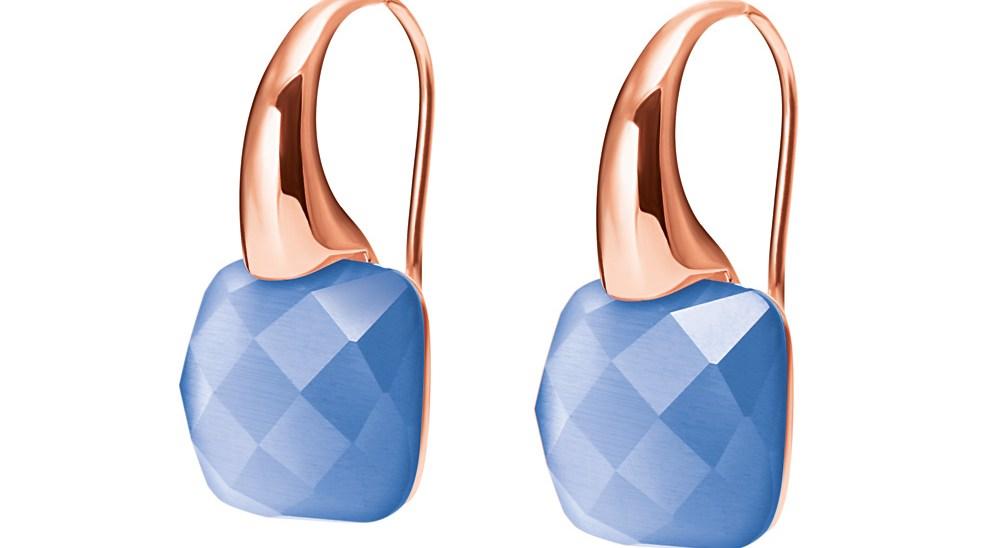 FOLLI FOLLIE - Γυναικεία σκουλαρίκια DREAMY με κρεμαστή μπλε πέτρα