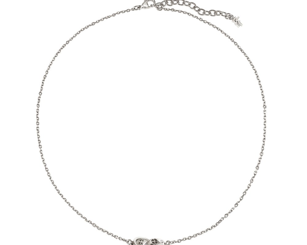 FOLLI FOLLIE - Γυναικείο κολιέ με κρεμαστά δαχτυλίδια & κρυστάλλινες πέτρες LOVE&FORTUNE ασημί