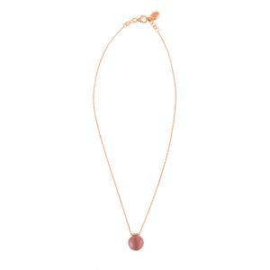 4c35f70af1 FOLLI FOLLIE - Γυναικείο ροζ επιχρυσωμένο κολιέ FOLLI FOLLIE με μοβ πέτρα