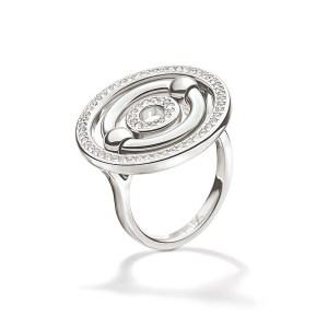 FOLLI FOLLIE - Γυναικείο επάργυρο μικρό δαχτυλίδι με κύκλους & κρυστάλλινες πέτρες BONDS ασημί