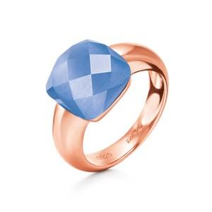 FOLLI FOLLIE - Γυναικείο επίχρυσο δαχτυλίδι DREAMY με τετράγωνη μπλε πέτρα