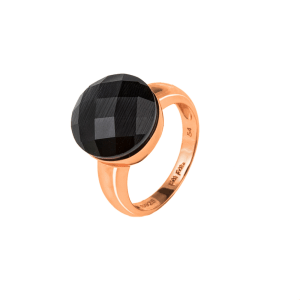 FOLLI FOLLIE - Γυναικείο επιχρυσωμένο δαχτυλίδι FOLLI FOLLIE ροζ με μαύρη πέτρα
