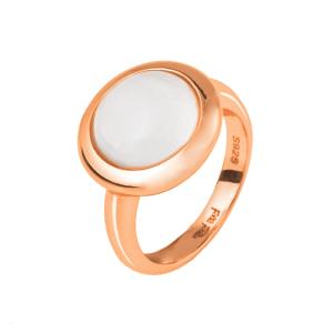 FOLLI FOLLIE - Γυναικείο επιχρυσωμένο δαχτυλίδι FOLLI FOLLIE ροζ με λευκή πέτρα