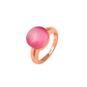 FOLLI FOLLIE - Γυναικείο επιχρυσωμένο δαχτυλίδι FOLLI FOLLIE με ροζ πέτρα