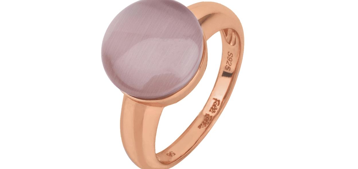 FOLLI FOLLIE - Γυναικείο επιχρυσωμένο δαχτυλίδι FOLLI FOLLIE ροζ με μοβ πέτρα