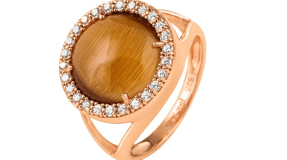 FOLLI FOLLIE - Γυναικείο επιχρυσωμένο δαχτυλίδι FOLLI FOLLIE με καφέ πέτρα και ζιργκόν