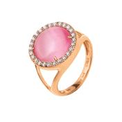 Folli Follie FOLLI FOLLIE - Γυναικείο επιχρυσωμένο δαχτυλίδι FOLLI FOLLIE με ροζ πέτρα και ζιργκόν 2018
