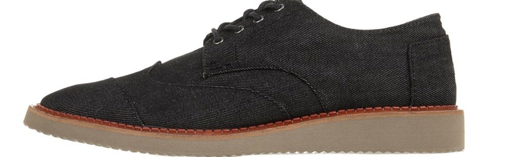 TOMS - Ανδρικά δετά παπούτσια TOMS DENIM MN BROG μαύρα