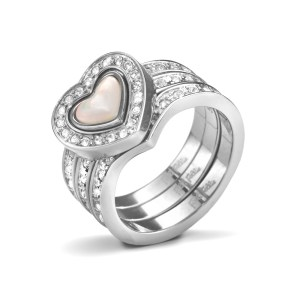 FOLLI FOLLIE - Γυναικείο επάργυρο τριπλό δαχτυλίδι PLAYFUL HEARTS με κρυστάλλινες πέτρες & καρδιές