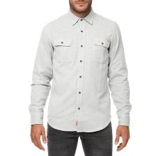BASEHIT - Ανδρικό μακρυμάνικο πουκάμισο BASEHIT γκρι ανοιχτό