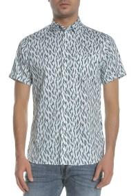 TED BAKER - Ανδρικό κοντομάνικο πουκάμισο TED BAKER WOOLRUS λευκό-μπλε