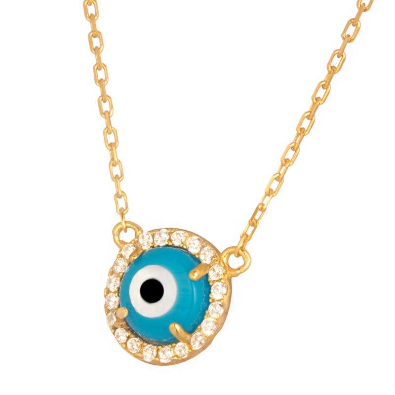 JEWELTUDE - Γυναικείο ασημένιο επίχρυσο κολιέ Κύκλος Μάτι