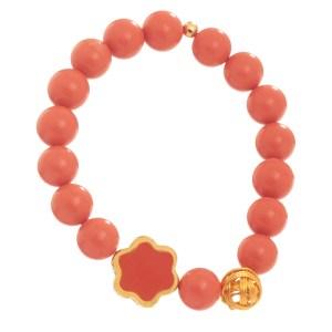 JEWELTUDE - Γυναικείο βραχιόλι πέτρες Κοράλλι επίχρυσο Λουλούδι