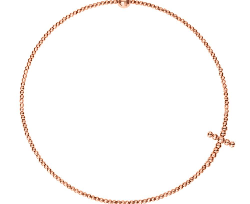 FOLLI FOLLIE - Γυναικείο κοντό κολιέ choker FOLLI FOLLIE ροζ-χρυσό