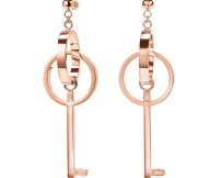 FOLLI FOLLIE - Γυναικεία κρεμαστά σκουλαρίκια FOLLI FOLLIE ON KEY ροζ
