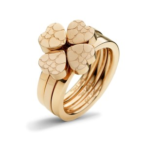 FOLLI FOLLIE - Σετ από τρία δαχτυλίδια FOLLI FOLLIE H4H SWEETHEART ροζ-χρυσά