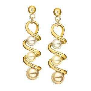 FOLLI FOLLIE - Γυναικεία μακριά σκουλαρίκια με πέρλες FOLLI FOLLIE επίχρυσα