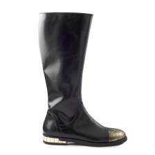 CHANIOTAKIS - Γυναικείες flat μπότες CHANIOTAKIS MARLEY 4693 μαύρες-χρυσές