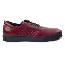 CHANIOTAKIS - Ανδρικά δερμάτινα sneakers CHANIOTAKIS μπορντό